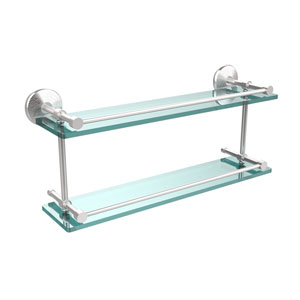 Monte Carlo 22 Inch Double Glass Shelf with Gallery Rail, Satin Chrome