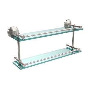 Monte Carlo 22 Inch Double Glass Shelf with Gallery Rail, Satin Nickel