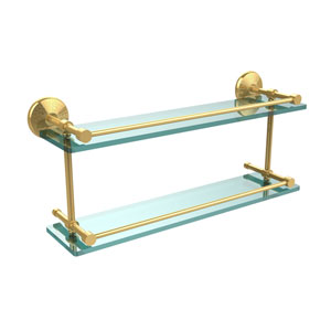 Monte Carlo 22 Inch Double Glass Shelf with Gallery Rail, Unlacquered Brass
