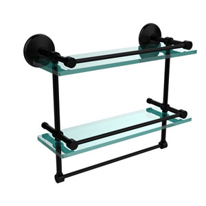 Monte Carlo Collection 16 Inch Gallery Double Glass Shelf with Towel Bar, Matte Black