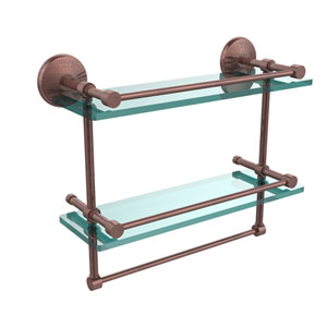 Monte Carlo Collection 16 Inch Gallery Double Glass Shelf with Towel Bar, Antique Copper