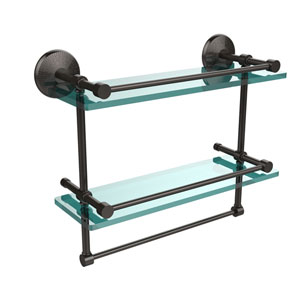 Monte Carlo Collection 16 Inch Gallery Double Glass Shelf with Towel Bar, Oil Rubbed Bronze