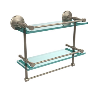 Monte Carlo Collection 16 Inch Gallery Double Glass Shelf with Towel Bar, Antique Pewter