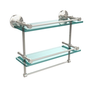 Monte Carlo Collection 16 Inch Gallery Double Glass Shelf with Towel Bar, Polished Nickel