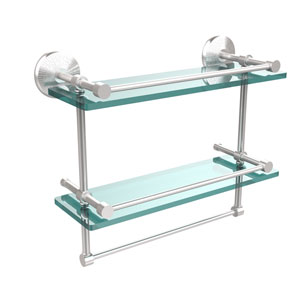 Monte Carlo Collection 16 Inch Gallery Double Glass Shelf with Towel Bar, Satin Chrome