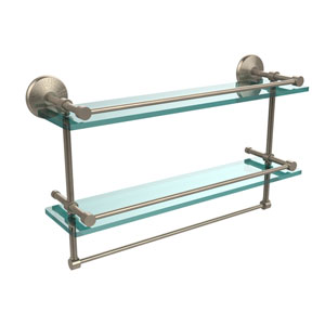 22 Inch Gallery Double Glass Shelf with Towel Bar, Antique Pewter