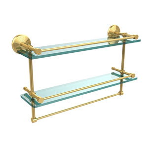 22 Inch Gallery Double Glass Shelf with Towel Bar, Unlacquered Brass