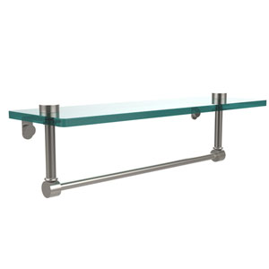 16 Inch Glass Vanity Shelf with Integrated Towel Bar, Satin Nickel
