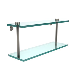 16 Inch Two Tiered Glass Shelf, Satin Nickel