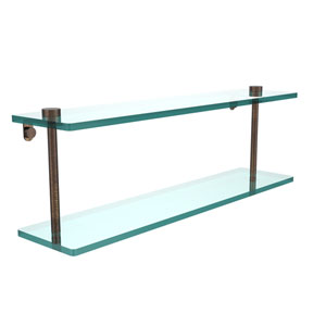 22 Inch Two Tiered Glass Shelf, Venetian Bronze