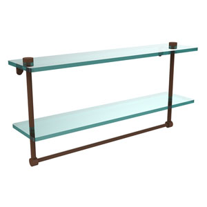 22 Inch Two Tiered Glass Shelf with Integrated Towel Bar, Antique Bronze