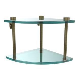 Two Tier Corner Glass Shelf, Antique Brass