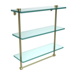 16 Inch Triple Tiered Glass Shelf with Integrated Towel Bar, Satin Brass