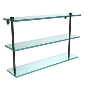 22 Inch Triple Tiered Glass Shelf, Oil Rubbed Bronze