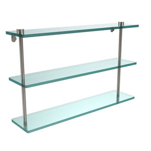 22 Inch Triple Tiered Glass Shelf, Satin Nickel