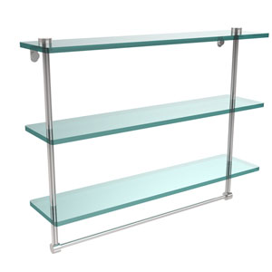 22 Inch Triple Tiered Glass Shelf with Integrated Towel Bar, Polished Chrome