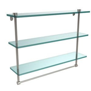22 Inch Triple Tiered Glass Shelf with Integrated Towel Bar, Satin Nickel
