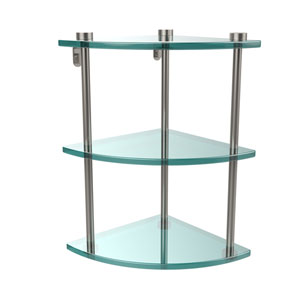 Three Tier Corner Glass Shelf, Satin Nickel