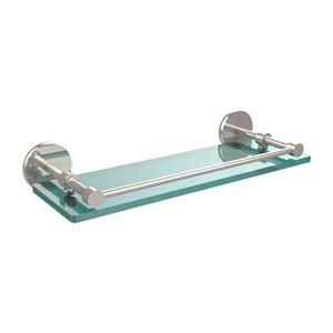 16 Inch Tempered Glass Shelf with Gallery Rail, Polished Nickel
