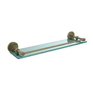 22 Inch Tempered Glass Shelf with Gallery Rail, Antique Brass