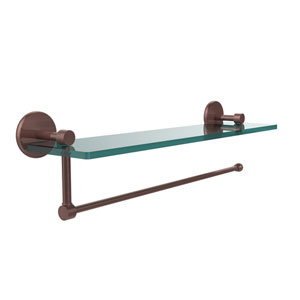 Prestige Skyline Collection Paper Towel Holder with 16 Inch Glass Shelf, Antique Copper