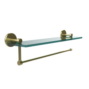 Prestige Skyline Collection Paper Towel Holder with 16 Inch Glass Shelf, Satin Brass