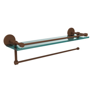 Prestige Skyline Collection Paper Towel Holder with 22 Inch Gallery Glass Shelf, Antique Bronze