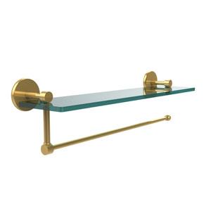 Prestige Skyline Collection Paper Towel Holder with 22 Inch Glass Shelf, Polished Brass