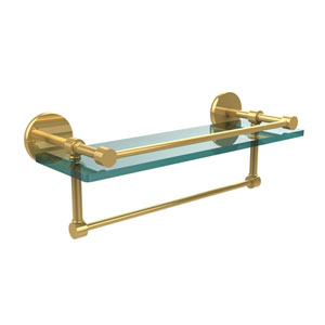 16 Inch Gallery Glass Shelf with Towel Bar, Polished Brass
