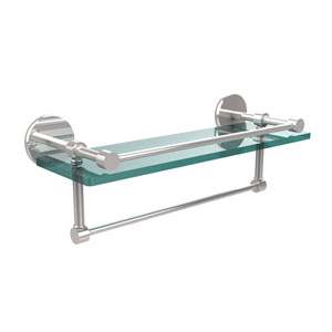 16 Inch Gallery Glass Shelf with Towel Bar, Polished Chrome