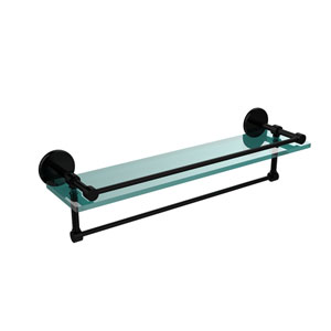22 Inch Gallery Glass Shelf with Towel Bar, Matte Black