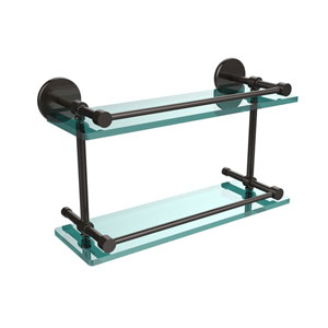 16 Inch Tempered Double Glass Shelf with Gallery Rail, Oil Rubbed Bronze