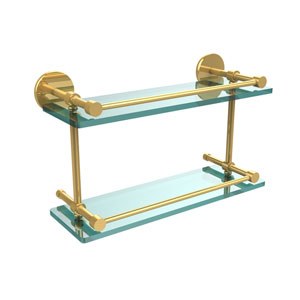 16 Inch Tempered Double Glass Shelf with Gallery Rail, Polished Brass