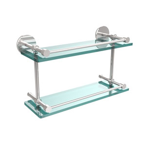 16 Inch Tempered Double Glass Shelf with Gallery Rail, Polished Chrome
