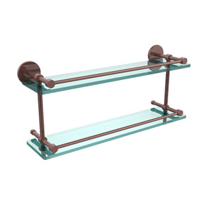 22 Inch Tempered Double Glass Shelf with Gallery Rail, Antique Copper