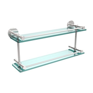 22 Inch Tempered Double Glass Shelf with Gallery Rail, Polished Chrome