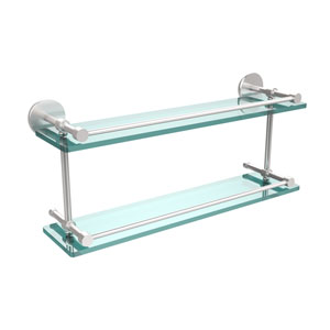 22 Inch Tempered Double Glass Shelf with Gallery Rail, Satin Chrome