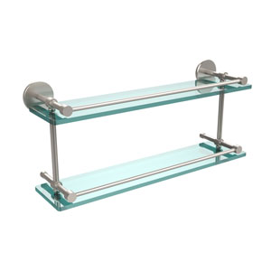 22 Inch Tempered Double Glass Shelf with Gallery Rail, Satin Nickel