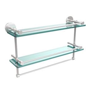 22 Inch Gallery Double Glass Shelf with Towel Bar, Satin Chrome