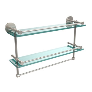22 Inch Gallery Double Glass Shelf with Towel Bar, Satin Nickel