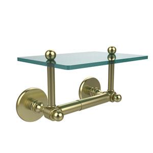 Prestige Skyline Collection Two Post Toilet Tissue Holder with Glass Shelf, Satin Brass