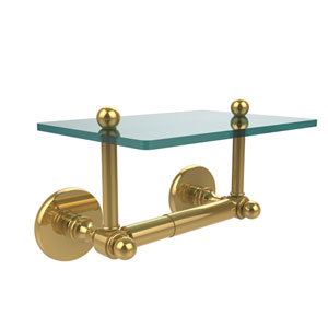 Prestige Skyline Collection Two Post Toilet Tissue Holder with Glass Shelf, Unlacquered Brass