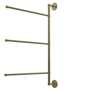 Prestige Skyline Collection 3 Swing Arm Vertical 28 Inch Towel Bar, Antique Brass