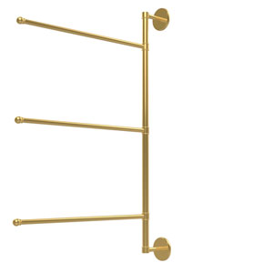 Prestige Skyline Collection 3 Swing Arm Vertical 28 Inch Towel Bar, Unlacquered Brass