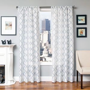 Perry Sky 96 x 55 In. Geometric Burnout Semi Sheer  Panel