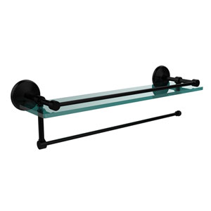 Prestige Monte Carlo Collection Paper Towel Holder with 16 Inch Gallery Glass Shelf, Matte Black