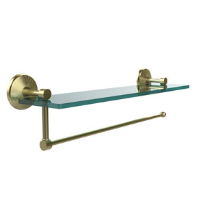 Prestige Monte Carlo Collection Paper Towel Holder with 16 Inch Glass Shelf, Satin Brass