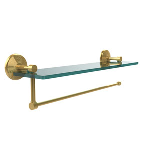 Prestige Monte Carlo Collection Paper Towel Holder with 16 Inch Glass Shelf, Unlacquered Brass