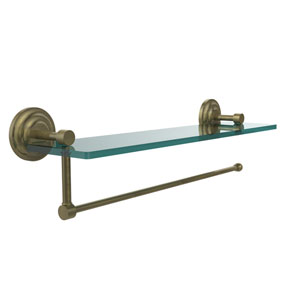 Prestige Que New Collection Paper Towel Holder with 16 Inch Glass Shelf, Antique Brass