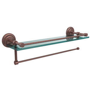 Prestige Que New Collection Paper Towel Holder with 16 Inch Gallery Glass Shelf, Antique Copper